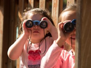 Girls looking through binoculars