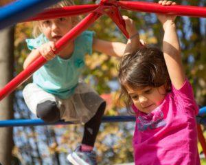 Girls climbing on the playground