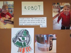 Placard documenting a child's robot project